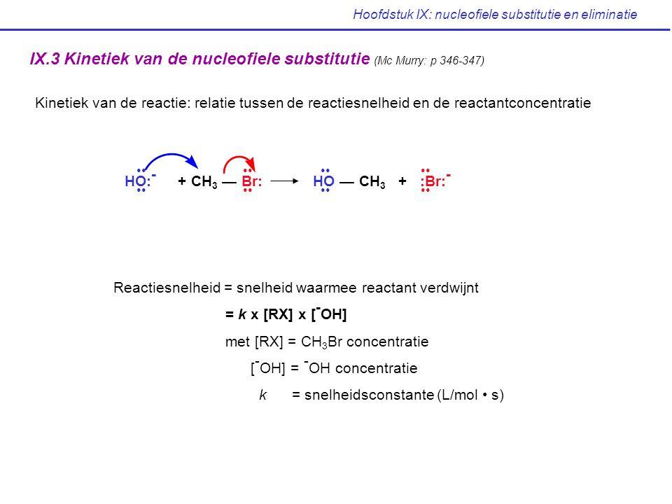 Hoofdstuk IX: nucleofiele substitutie en eliminatie IX.4 De S N 2 reactie (Mc Murry: p 347-349) Het nucleofiel valt aan langs de achterzijde van de te breken binding: 180° ten opzichte van het vertrekkende halogeenatoom.
