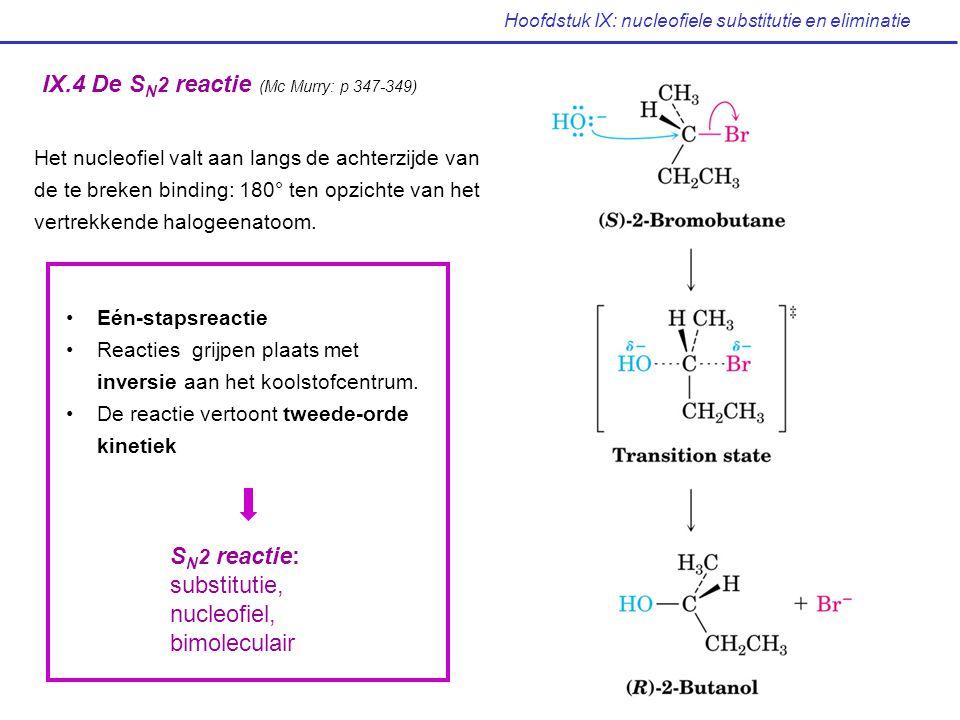 Hoofdstuk IX: nucleofiele substitutie en eliminatie De leaving groep Leaving groep uitgestoten met een negatieve lading: beste leaving groep = beste stabilisatie van negatieve lading beste stabilisatie van anion = zwakste base (laagste pKa voor geconjugeerd zuur) Leaving groep L - pKa van H-Lrelatieve reactiviteit I - < -1030.000 Br - -910.000 Cl - -7200 F - +31 RCOO - +5ca 0 CN - +100 RO -, HO - +160 NH 2 - +350 CH 3 - +500 Minder reactief Meer reactief