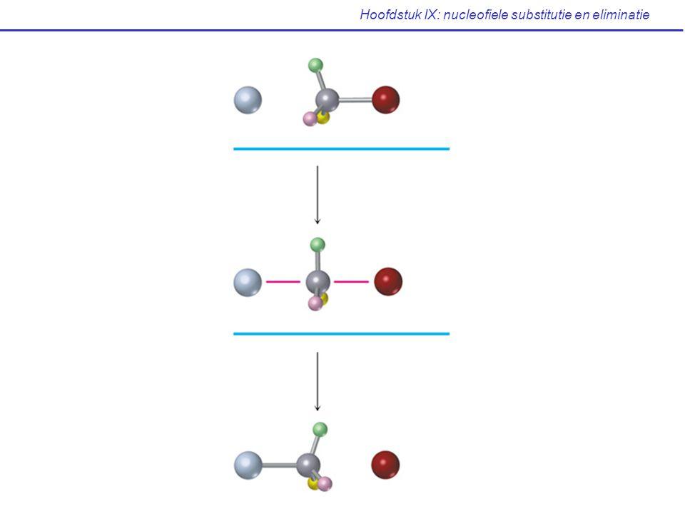Hoofdstuk IX: nucleofiele substitutie en eliminatie R — FR — OHR — OR'R — NH 2 Ondergaan normaal geen S N 2 reactie Oplossing voor substitutie van hydroxylgroep: via derivatisatie Nu: - R — L Nu — R:L - / LpKa (H-L / H-L + ) Breken van C-O binding Tosylaat R-OTs (alkyl)-p- tolueensulfonaat -6 -2 hydroxoniumgroep H2OH2O