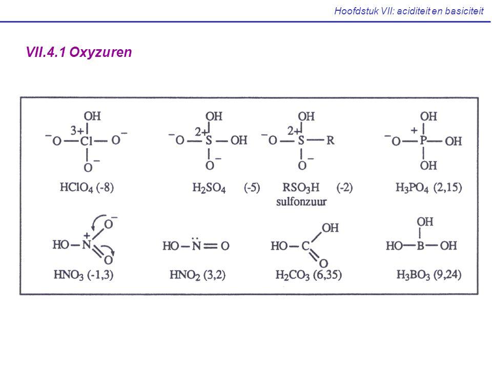 Hoofdstuk VII: aciditeit en basiciteit VII.4.1 Oxyzuren
