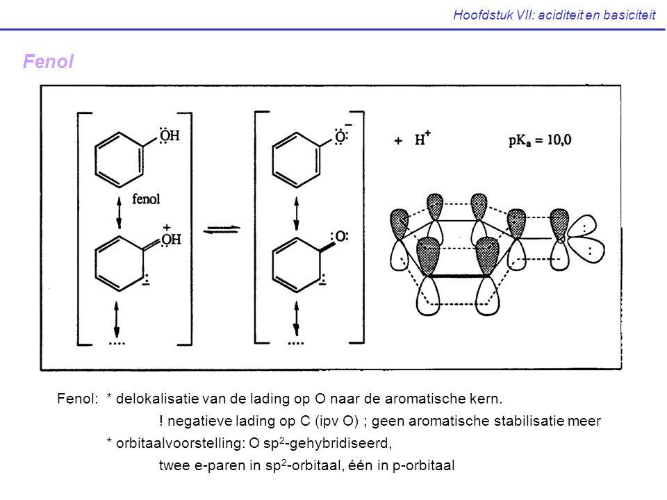 Fenol: * delokalisatie van de lading op O naar de aromatische kern. ! negatieve lading op C (ipv O) ; geen aromatische stabilisatie meer * orbitaalvoo