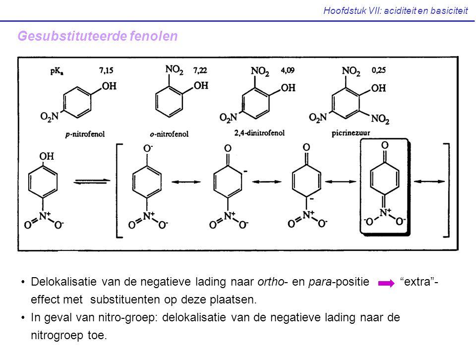 """Hoofdstuk VII: aciditeit en basiciteit Gesubstituteerde fenolen Delokalisatie van de negatieve lading naar ortho- en para-positie """"extra""""- effect met"""