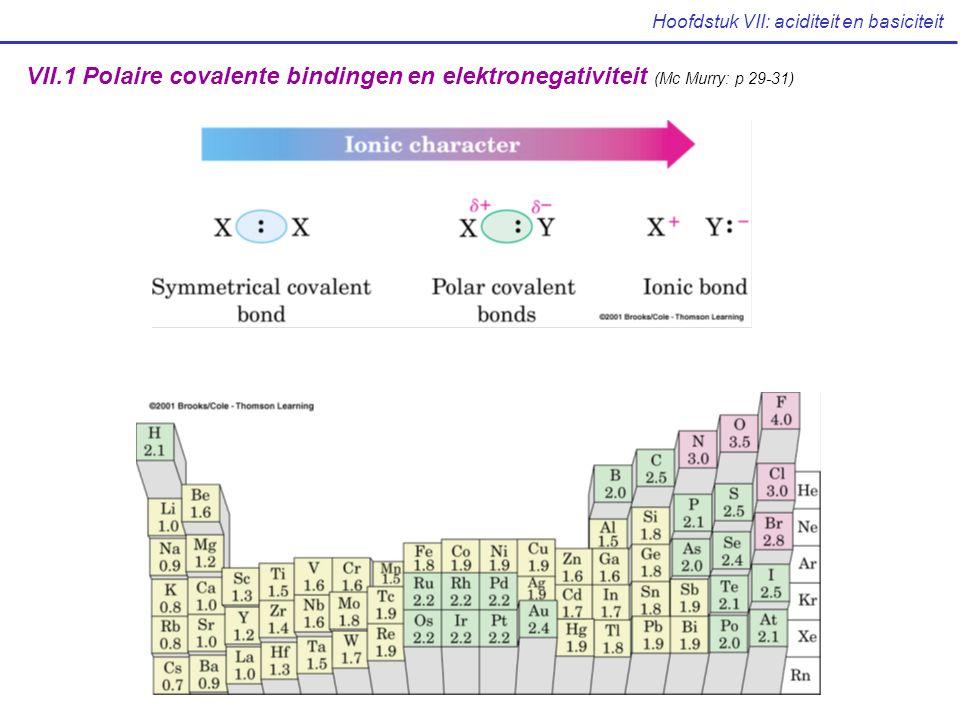 Hoofdstuk VII: aciditeit en basiciteit VII.1 Polaire covalente bindingen en elektronegativiteit (Mc Murry: p 29-31)