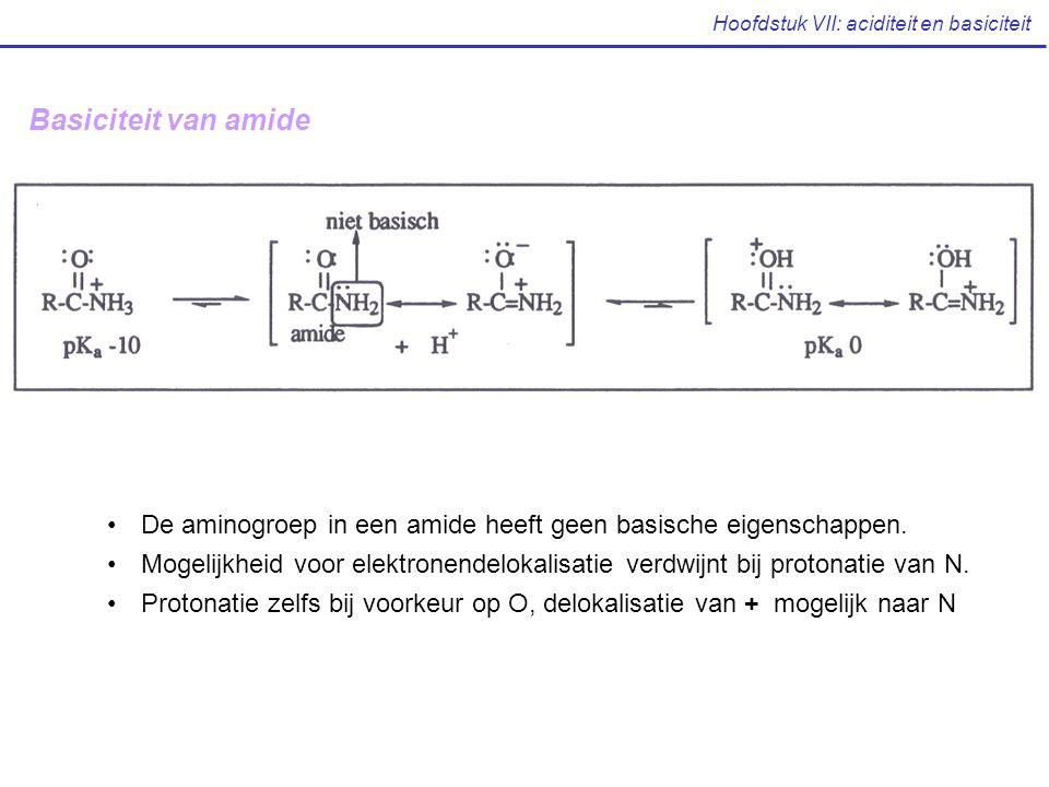 Hoofdstuk VII: aciditeit en basiciteit Basiciteit van amide De aminogroep in een amide heeft geen basische eigenschappen. Mogelijkheid voor elektronen