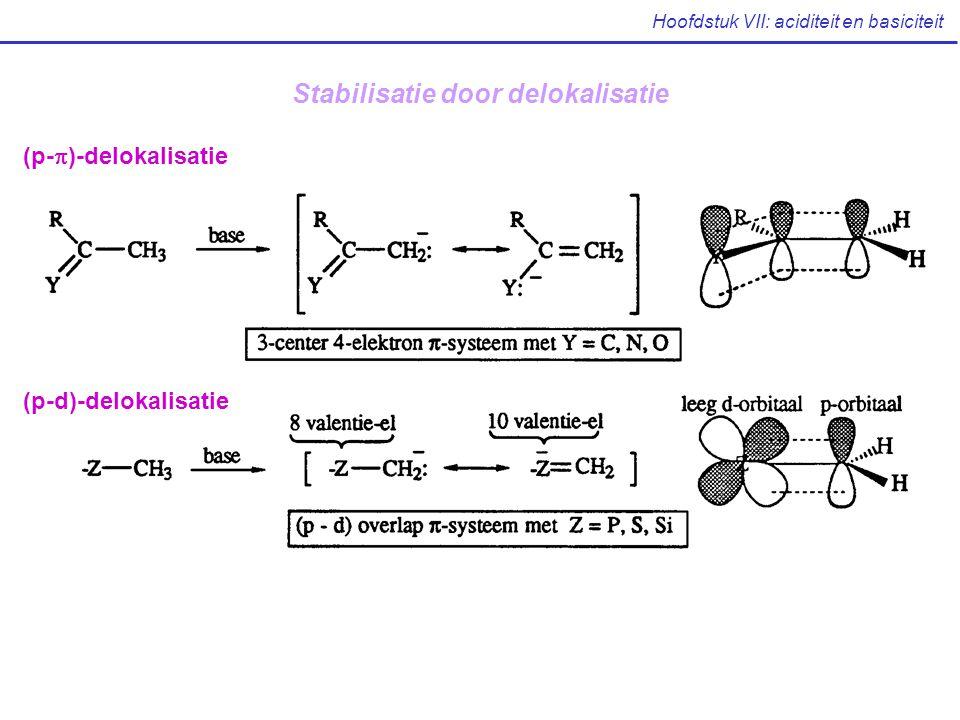Hoofdstuk VII: aciditeit en basiciteit (p-  )-delokalisatie (p-d)-delokalisatie Stabilisatie door delokalisatie