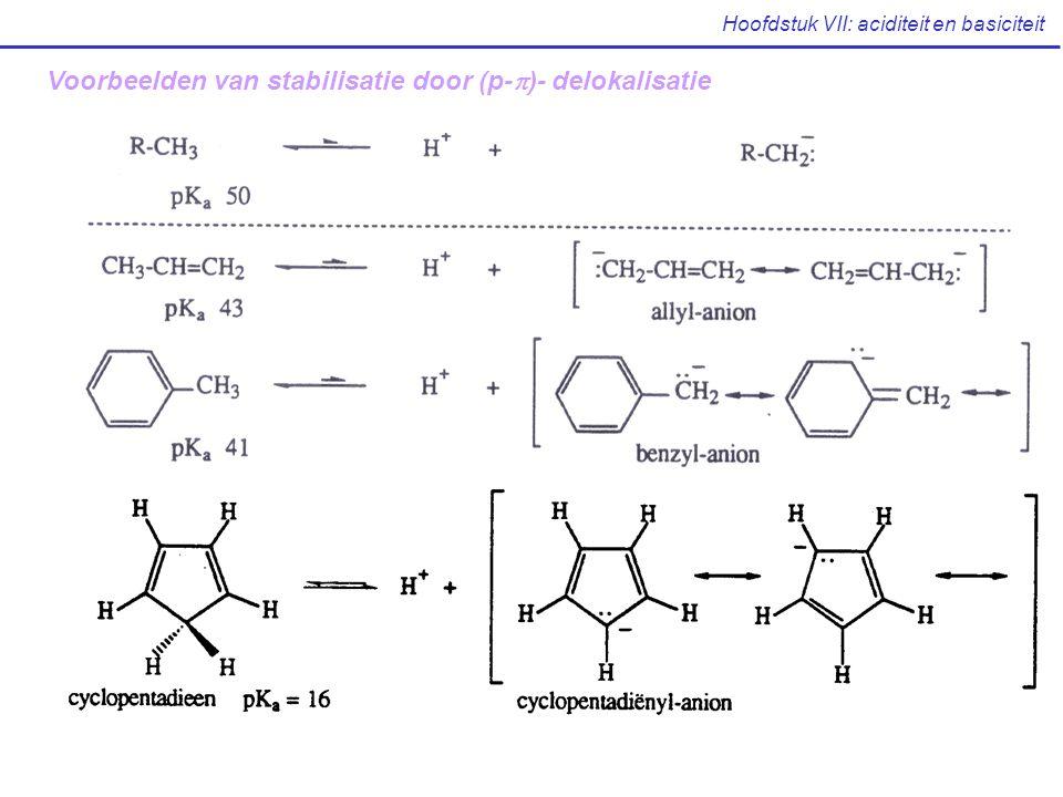 Hoofdstuk VII: aciditeit en basiciteit Voorbeelden van stabilisatie door (p-  )- delokalisatie