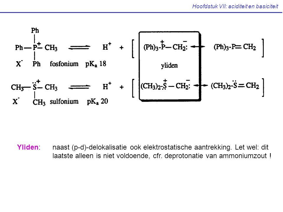 Hoofdstuk VII: aciditeit en basiciteit Yliden: naast (p-d)-delokalisatie ook elektrostatische aantrekking. Let wel: dit laatste alleen is niet voldoen