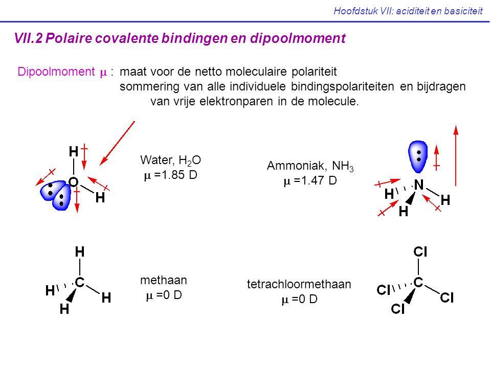 Hoofdstuk VII: aciditeit en basiciteit VII.2 Polaire covalente bindingen en dipoolmoment Dipoolmoment  :maat voor de netto moleculaire polariteit som