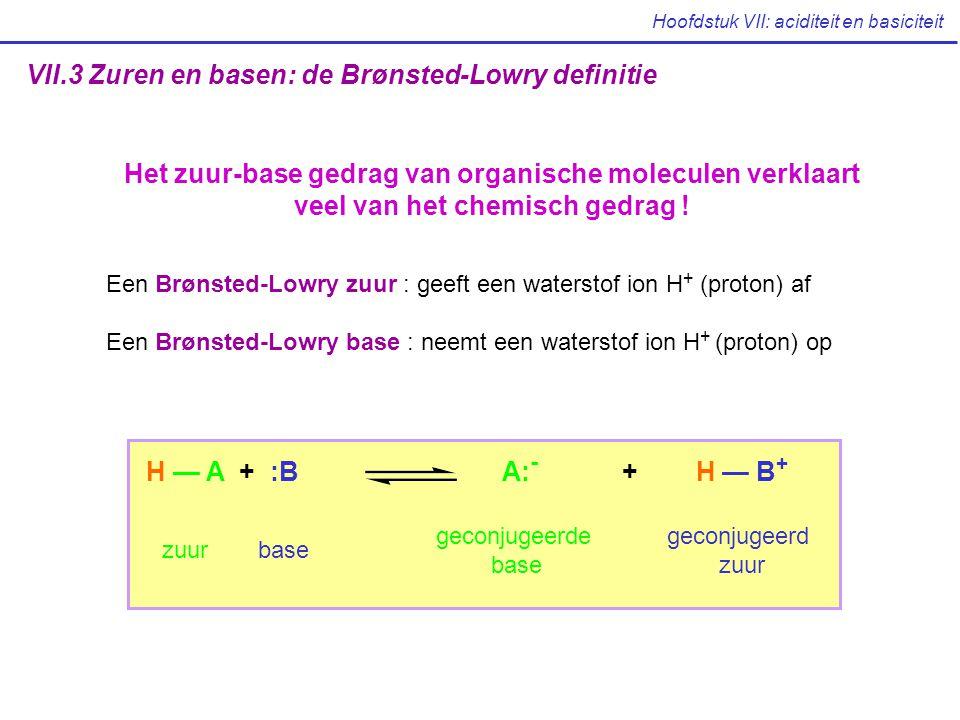 Hoofdstuk VII: aciditeit en basiciteit VII.3 Zuren en basen: de Brønsted-Lowry definitie Het zuur-base gedrag van organische moleculen verklaart veel