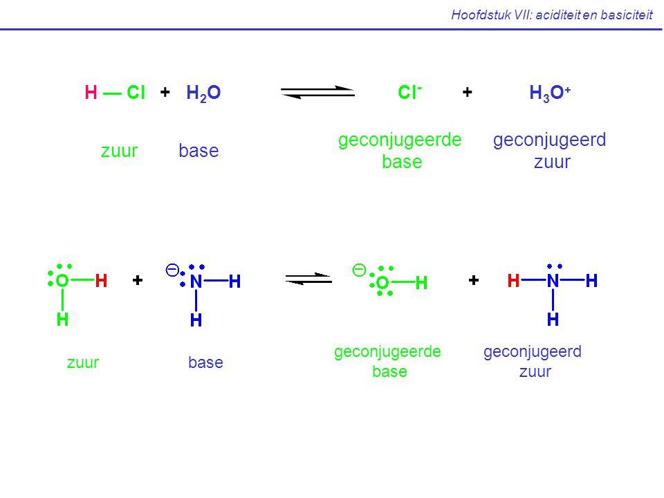 Hoofdstuk VII: aciditeit en basiciteit zuurbase geconjugeerde base geconjugeerd zuur H — Cl + H 2 O Cl - + H 3 O + zuurbase geconjugeerde base geconju