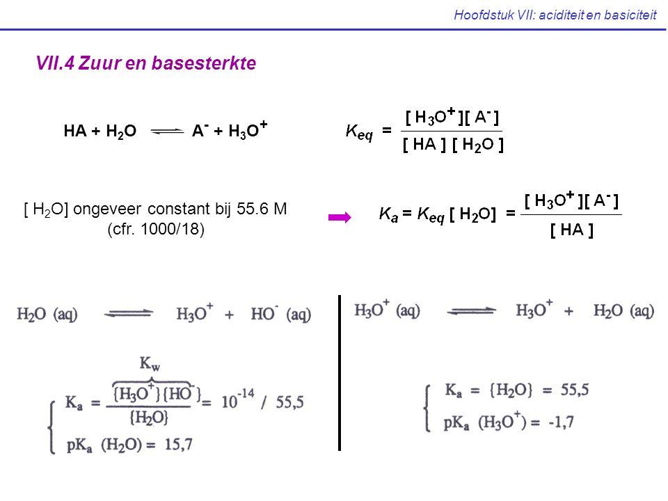 Hoofdstuk VII: aciditeit en basiciteit VII.4 Zuur en basesterkte HA + H 2 O A - + H 3 O + [ H 2 O] ongeveer constant bij 55.6 M (cfr. 1000/18)