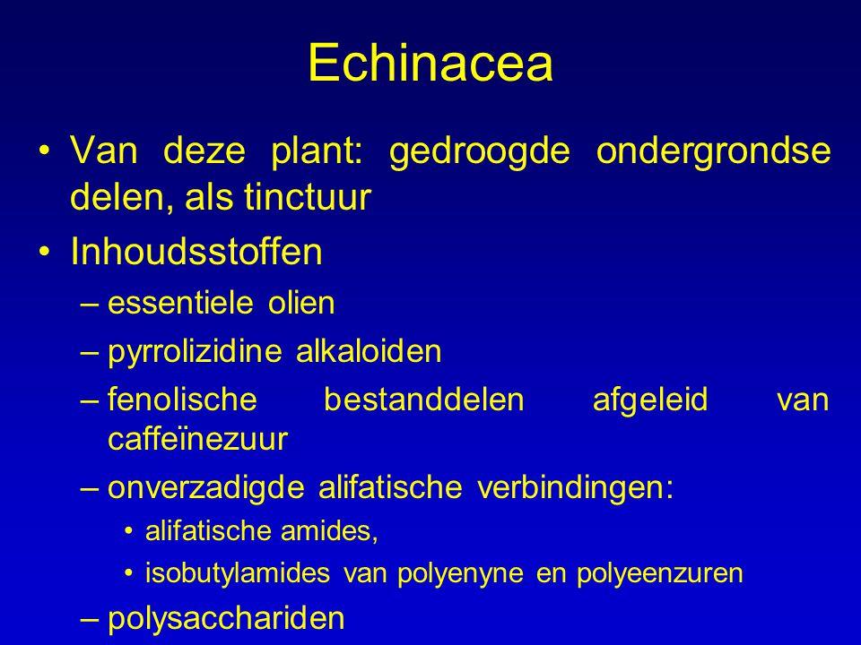 Echinacea Van deze plant: gedroogde ondergrondse delen, als tinctuur Inhoudsstoffen –essentiele olien –pyrrolizidine alkaloiden –fenolische bestanddel