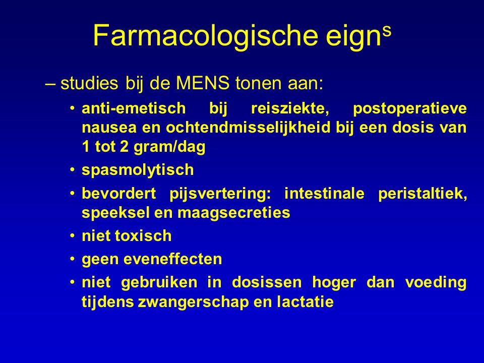 Farmacologische eign s –studies bij de MENS tonen aan: anti-emetisch bij reisziekte, postoperatieve nausea en ochtendmisselijkheid bij een dosis van 1