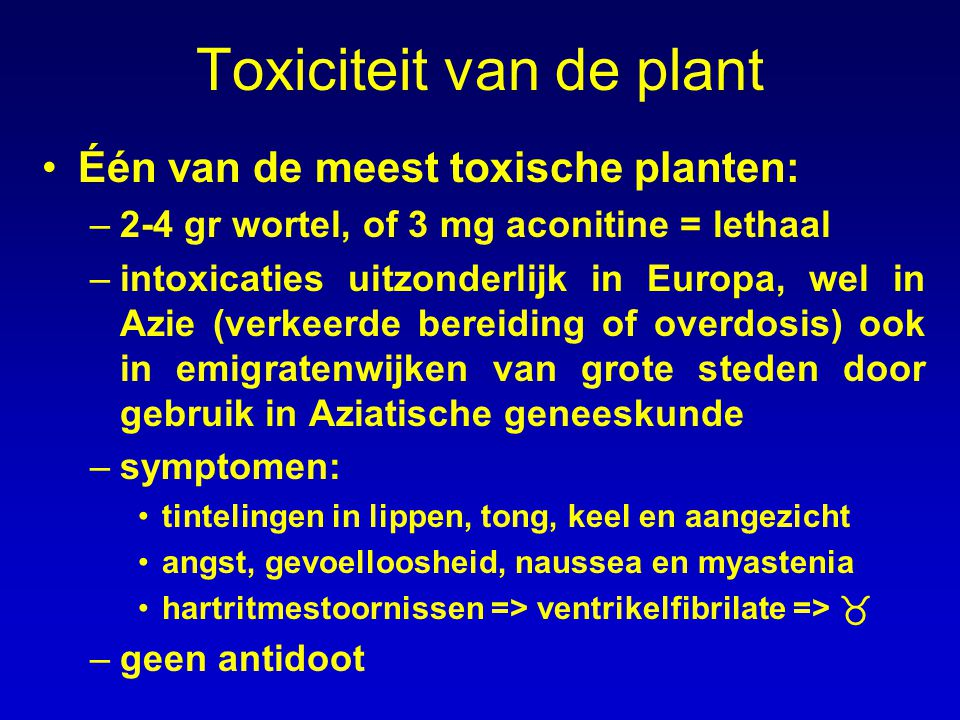 Toxiciteit van de plant Één van de meest toxische planten: –2-4 gr wortel, of 3 mg aconitine = lethaal –intoxicaties uitzonderlijk in Europa, wel in A