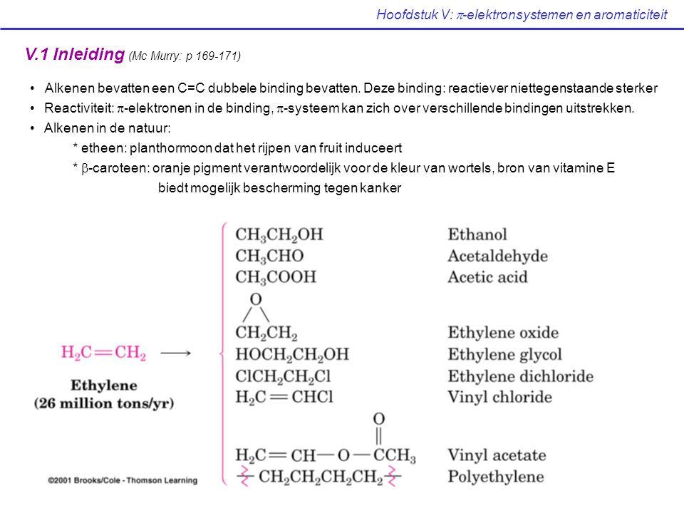 Hoofdstuk V:  -elektronsystemen en aromaticiteit V.2 Berekenen van het aantal onverzadigdheden (Mc Murry: p 171-173) Ethaan: C 2 H 6  C n H 2n+2  verzadigd Etheen: C 2 H 4  C n H 2n  onverzadigd Algemeen: iedere ring of dubbele binding verlies van 2H in de formule C n H 2n+2 Berekenen van het aantal onverzadigdheden uit de brutoformule Regels: vervang X door H en vergelijk met de verzadigde formule bv.: C 4 H 6 Br 2 = C 4 H 8  1 onverzadigdheid verwaarloos O bv.
