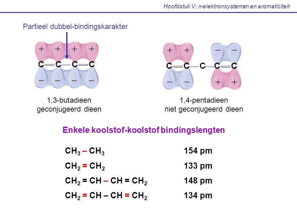 Hoofdstuk V:  -elektronsystemen en aromaticiteit 1,3-butadieen geconjugeerd dieen 1,4-pentadieen niet geconjugeerd dieen Partieel dubbel-bindingskarakter Enkele koolstof-koolstof bindingslengten CH 3 – CH 3 154 pm CH 2 = CH 2 133 pm CH 2 = CH – CH = CH 2 148 pm CH 2 = CH – CH = CH 2 134 pm
