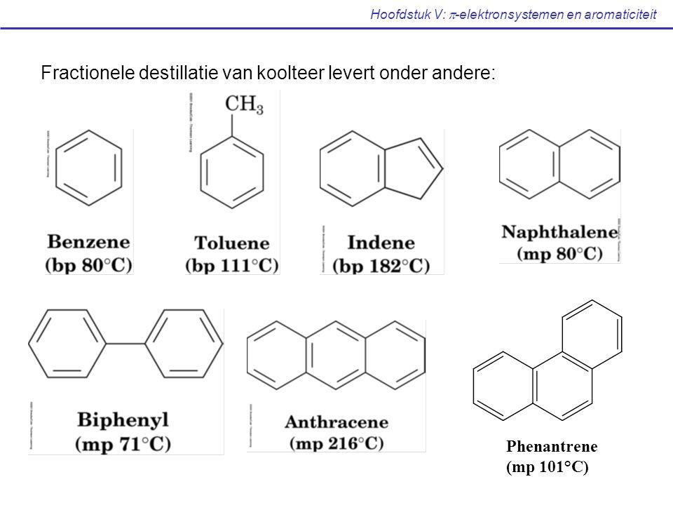 Hoofdstuk V:  -elektronsystemen en aromaticiteit Fractionele destillatie van koolteer levert onder andere: Phenantrene (mp 101°C)