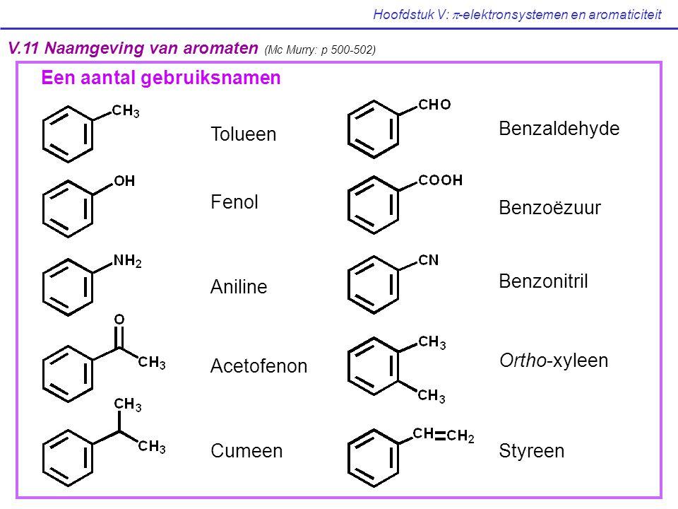 Hoofdstuk V:  -elektronsystemen en aromaticiteit V.11 Naamgeving van aromaten (Mc Murry: p 500-502) Tolueen Fenol Aniline Acetofenon Cumeen Benzaldeh