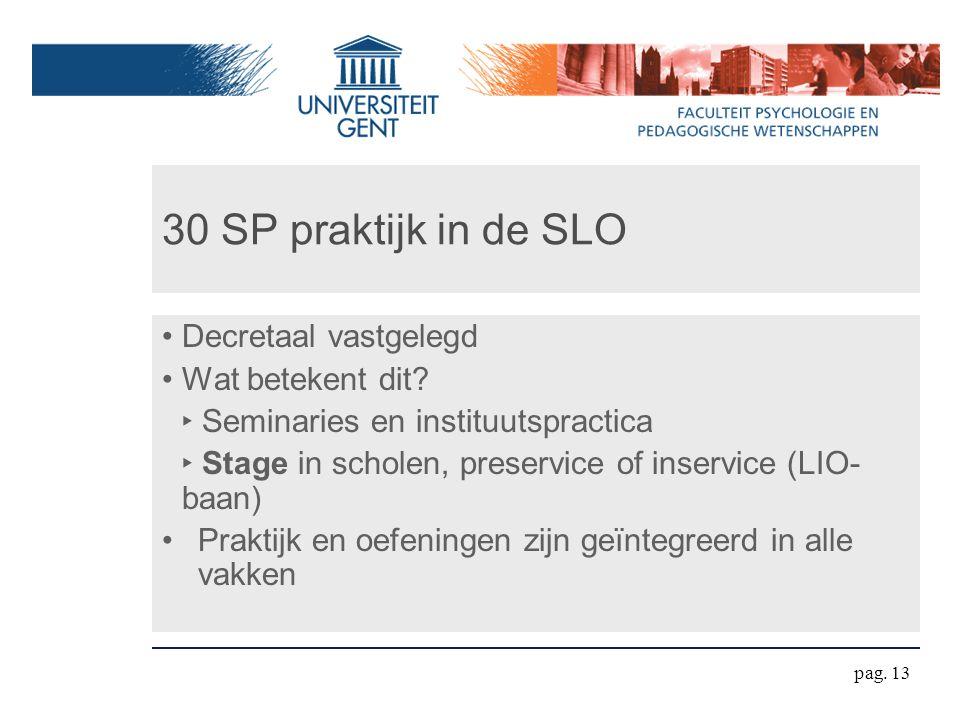 30 SP praktijk in de SLO Decretaal vastgelegd Wat betekent dit.