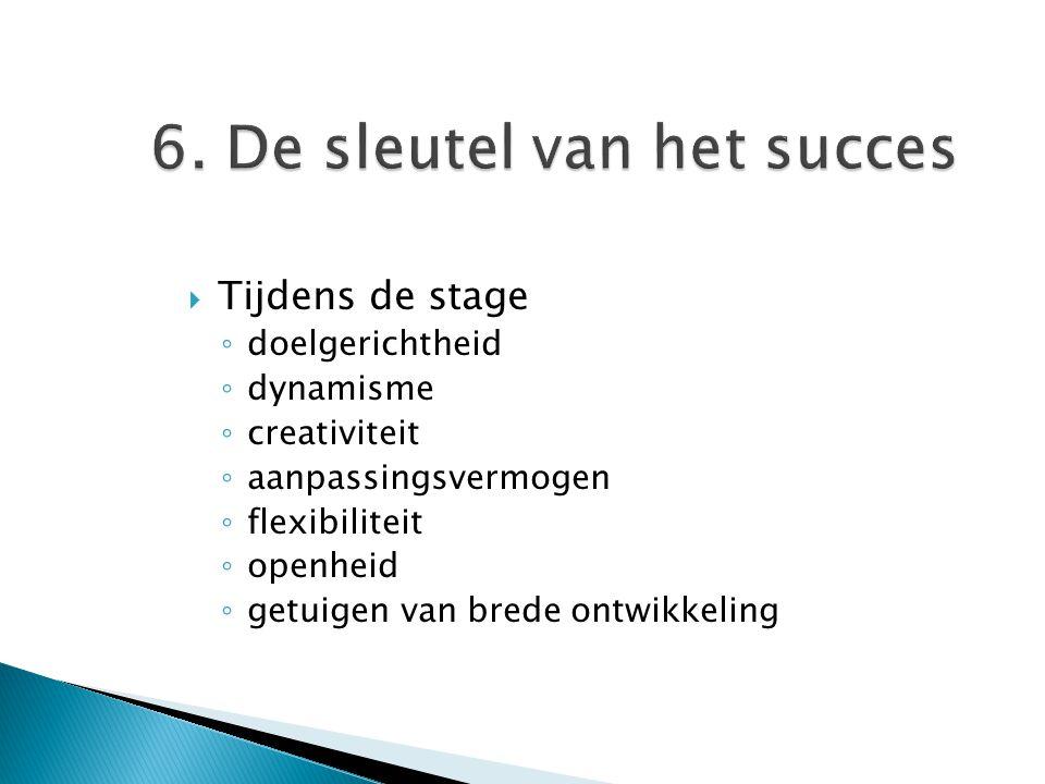 6. De sleutel van het succes  Tijdens de stage ◦ doelgerichtheid ◦ dynamisme ◦ creativiteit ◦ aanpassingsvermogen ◦ flexibiliteit ◦ openheid ◦ getuig