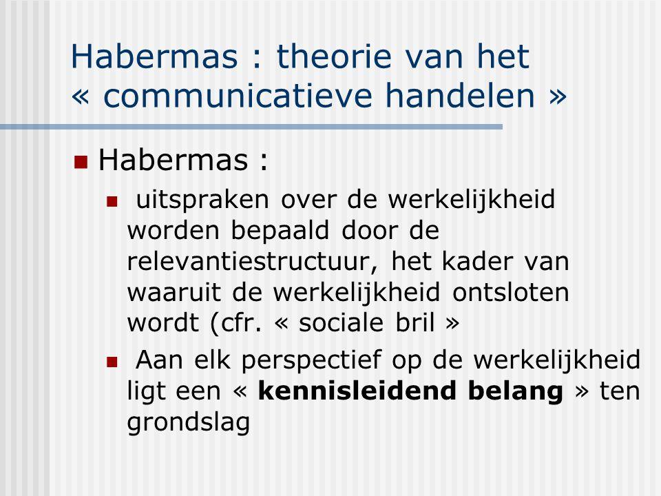 Habermas : theorie van het « communicatieve handelen » Habermas : uitspraken over de werkelijkheid worden bepaald door de relevantiestructuur, het kad