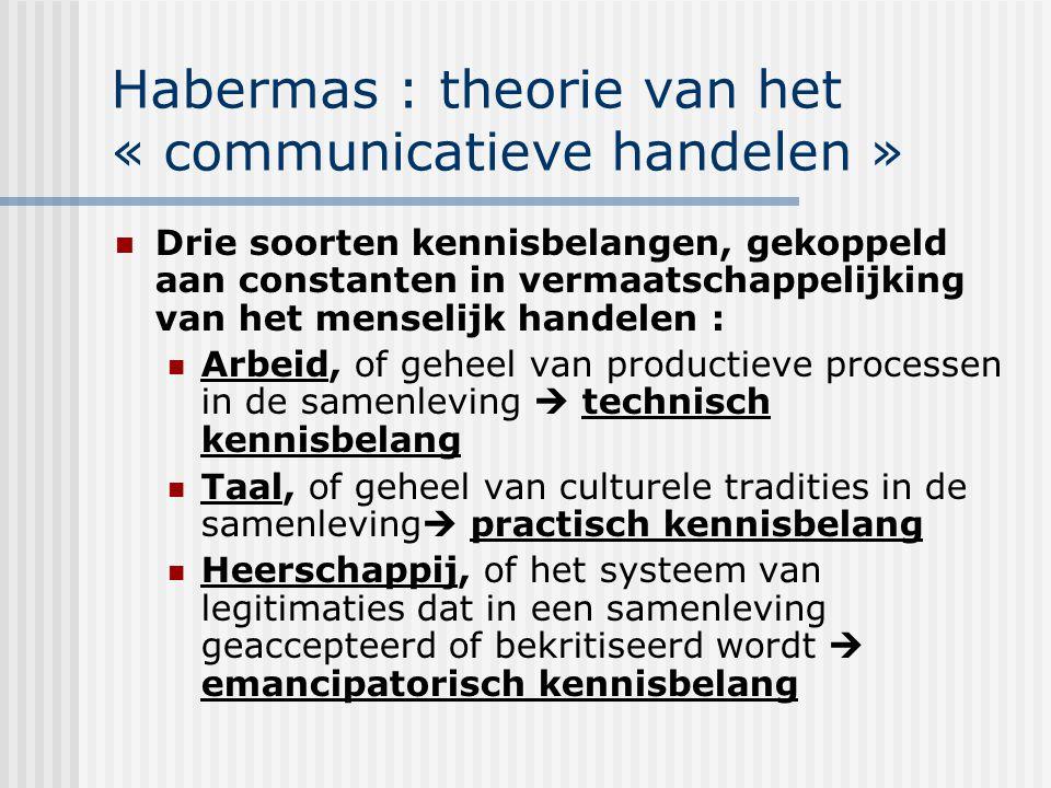 Habermas : theorie van het « communicatieve handelen » Drie soorten kennisbelangen, gekoppeld aan constanten in vermaatschappelijking van het menselij
