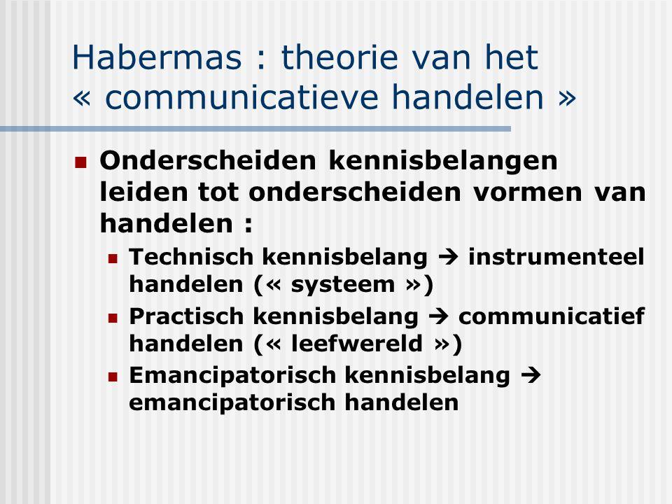 Habermas : theorie van het « communicatieve handelen » Onderscheiden kennisbelangen leiden tot onderscheiden vormen van handelen : Technisch kennisbel