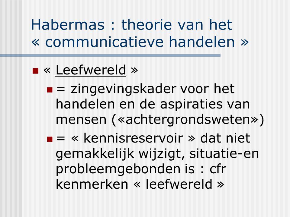 Habermas : theorie van het « communicatieve handelen » « Leefwereld » = zingevingskader voor het handelen en de aspiraties van mensen («achtergrondswe
