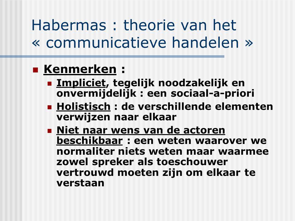 Habermas : theorie van het « communicatieve handelen » Kenmerken : Impliciet, tegelijk noodzakelijk en onvermijdelijk : een sociaal-a-priori Holistisc