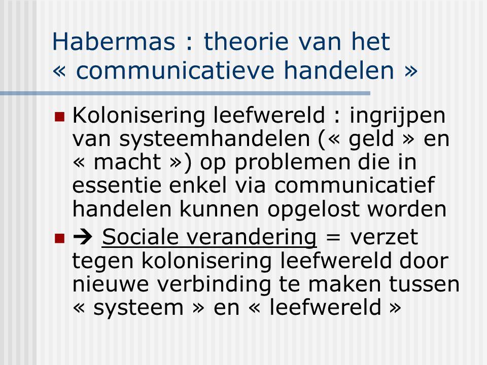 Habermas : theorie van het « communicatieve handelen » Kolonisering leefwereld : ingrijpen van systeemhandelen (« geld » en « macht ») op problemen di