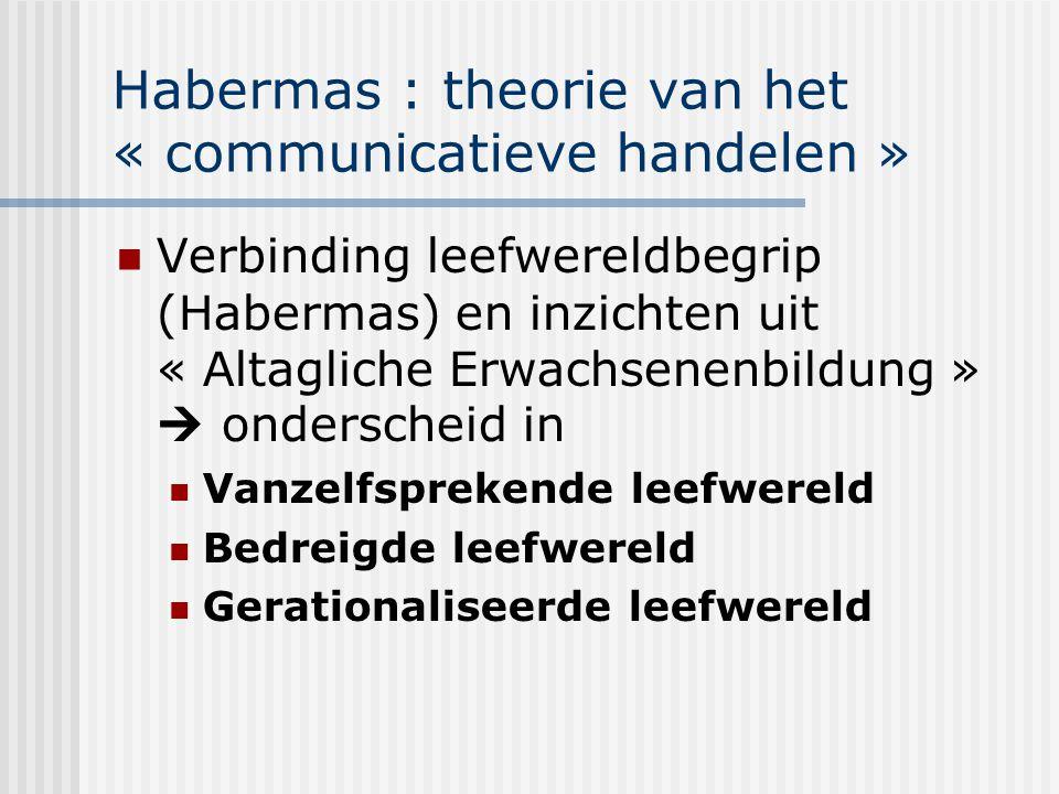 Habermas : theorie van het « communicatieve handelen » Verbinding leefwereldbegrip (Habermas) en inzichten uit « Altagliche Erwachsenenbildung »  ond