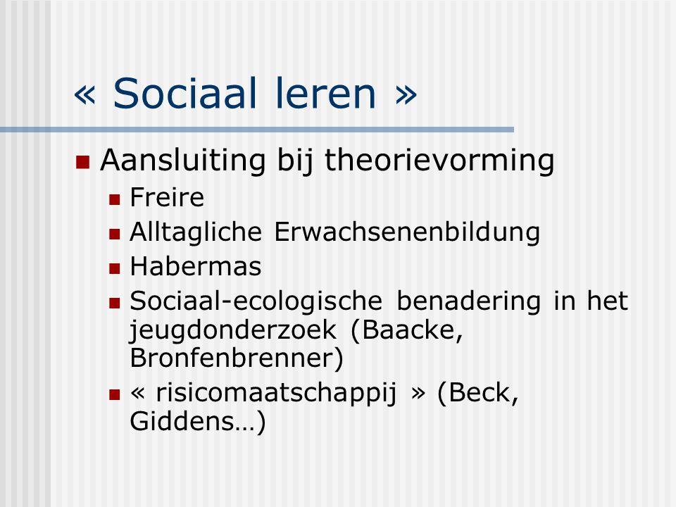 « Sociaal leren »: communicatie- dimensie Verwijst naar de verhouding tussen de groep en de sociale omgeving Agogische interventie = vinden van een werkbaar evenwicht tussen sociale integratie en zelfsturing  Spanning tussen « doelgroepkant » en « oplossingskant » agogische interventie