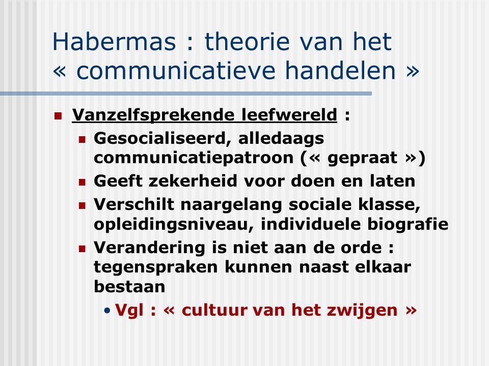Habermas : theorie van het « communicatieve handelen » Vanzelfsprekende leefwereld : Gesocialiseerd, alledaags communicatiepatroon (« gepraat ») Geeft