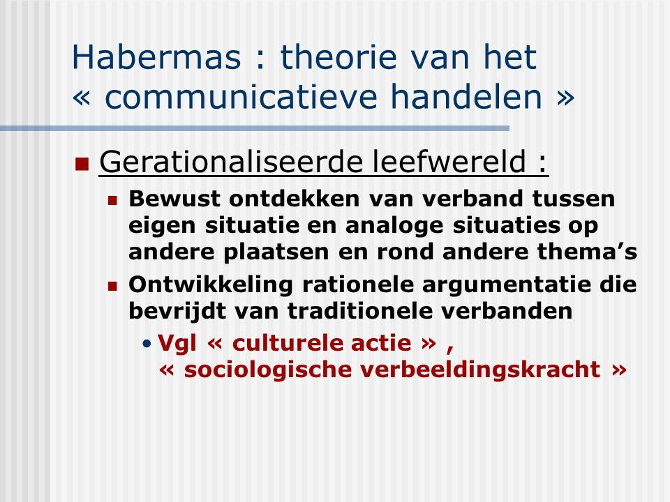 Habermas : theorie van het « communicatieve handelen » Gerationaliseerde leefwereld : Bewust ontdekken van verband tussen eigen situatie en analoge si