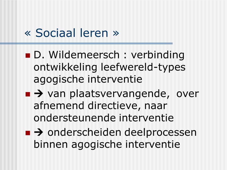 « Sociaal leren » D. Wildemeersch : verbinding ontwikkeling leefwereld-types agogische interventie  van plaatsvervangende, over afnemend directieve,