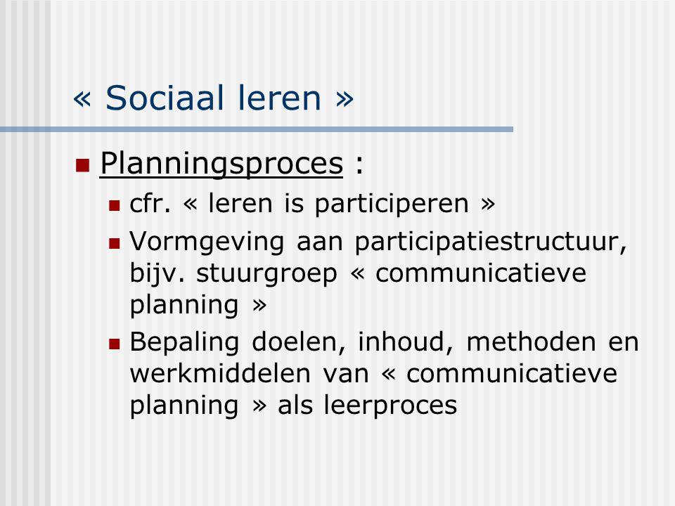 « Sociaal leren » Planningsproces : cfr. « leren is participeren » Vormgeving aan participatiestructuur, bijv. stuurgroep « communicatieve planning »