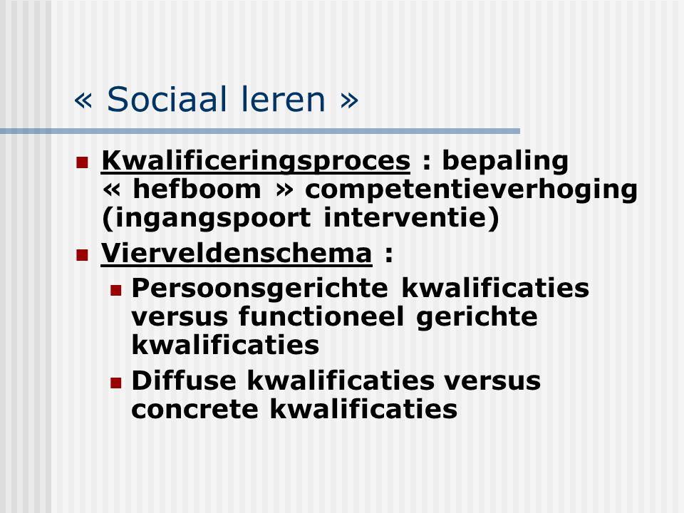 « Sociaal leren » Kwalificeringsproces : bepaling « hefboom » competentieverhoging (ingangspoort interventie) Vierveldenschema : Persoonsgerichte kwal