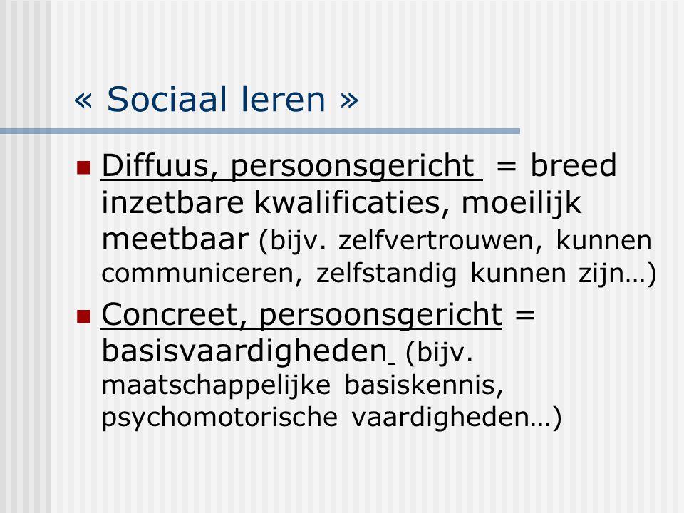 « Sociaal leren » Diffuus, persoonsgericht = breed inzetbare kwalificaties, moeilijk meetbaar (bijv. zelfvertrouwen, kunnen communiceren, zelfstandig