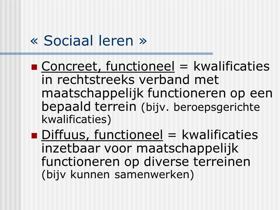 « Sociaal leren » Concreet, functioneel = kwalificaties in rechtstreeks verband met maatschappelijk functioneren op een bepaald terrein (bijv. beroeps