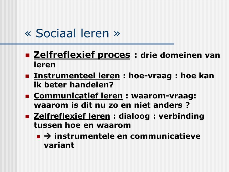 « Sociaal leren » Zelfreflexief proces : drie domeinen van leren Instrumenteel leren : hoe-vraag : hoe kan ik beter handelen? Communicatief leren : wa