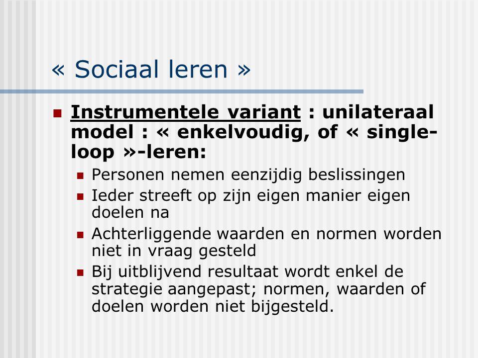 « Sociaal leren » Instrumentele variant : unilateraal model : « enkelvoudig, of « single- loop »-leren: Personen nemen eenzijdig beslissingen Ieder st