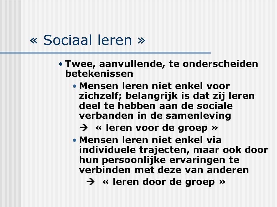 « Sociaal leren » Twee, aanvullende, te onderscheiden betekenissen Mensen leren niet enkel voor zichzelf; belangrijk is dat zij leren deel te hebben a