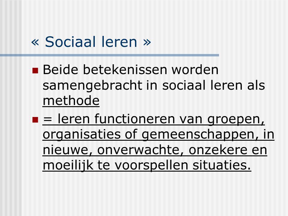 « Sociaal leren » Beide betekenissen worden samengebracht in sociaal leren als methode = leren functioneren van groepen, organisaties of gemeenschappe