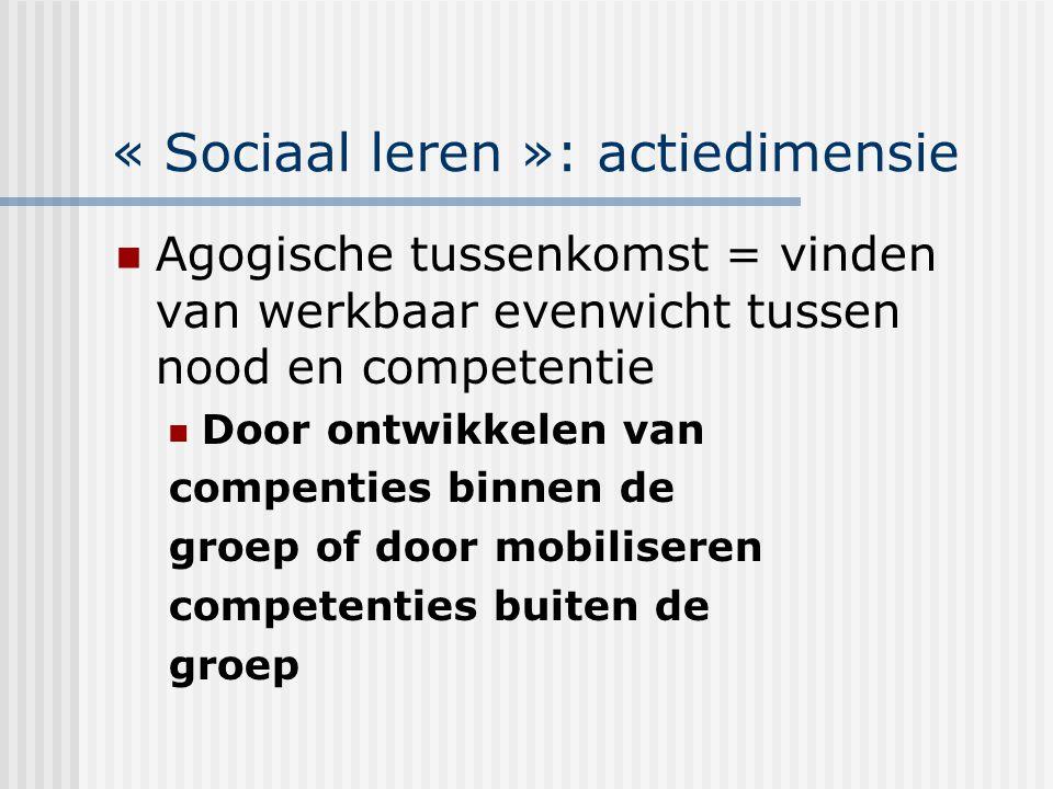 « Sociaal leren »: actiedimensie Agogische tussenkomst = vinden van werkbaar evenwicht tussen nood en competentie Door ontwikkelen van compenties binn