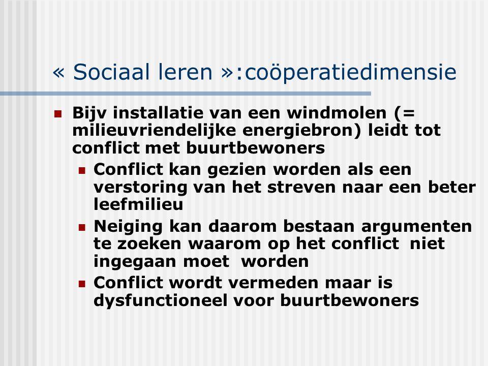 « Sociaal leren »:coöperatiedimensie Bijv installatie van een windmolen (= milieuvriendelijke energiebron) leidt tot conflict met buurtbewoners Confli
