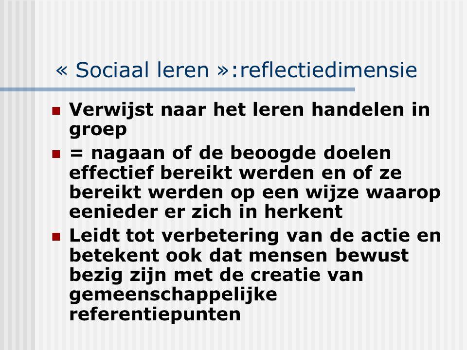 « Sociaal leren »:reflectiedimensie Verwijst naar het leren handelen in groep = nagaan of de beoogde doelen effectief bereikt werden en of ze bereikt
