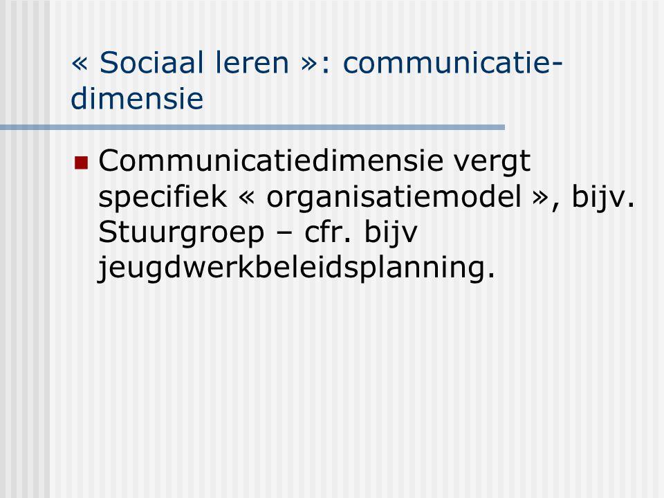 « Sociaal leren »: communicatie- dimensie Communicatiedimensie vergt specifiek « organisatiemodel », bijv. Stuurgroep – cfr. bijv jeugdwerkbeleidsplan