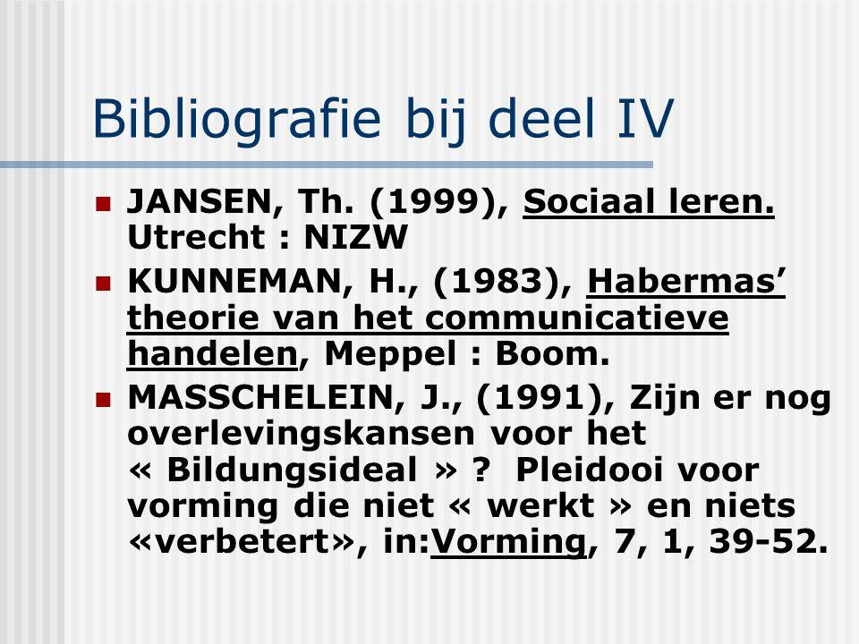 Bibliografie bij deel IV JANSEN, Th. (1999), Sociaal leren. Utrecht : NIZW KUNNEMAN, H., (1983), Habermas' theorie van het communicatieve handelen, Me