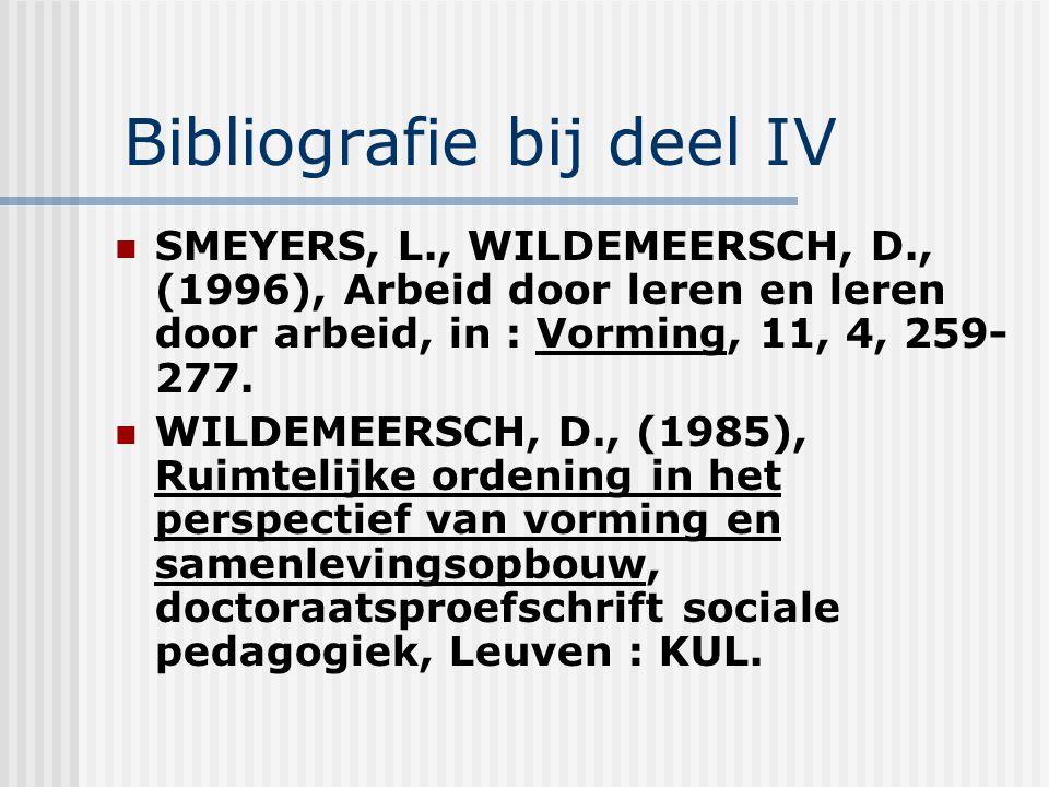 Bibliografie bij deel IV SMEYERS, L., WILDEMEERSCH, D., (1996), Arbeid door leren en leren door arbeid, in : Vorming, 11, 4, 259- 277. WILDEMEERSCH, D