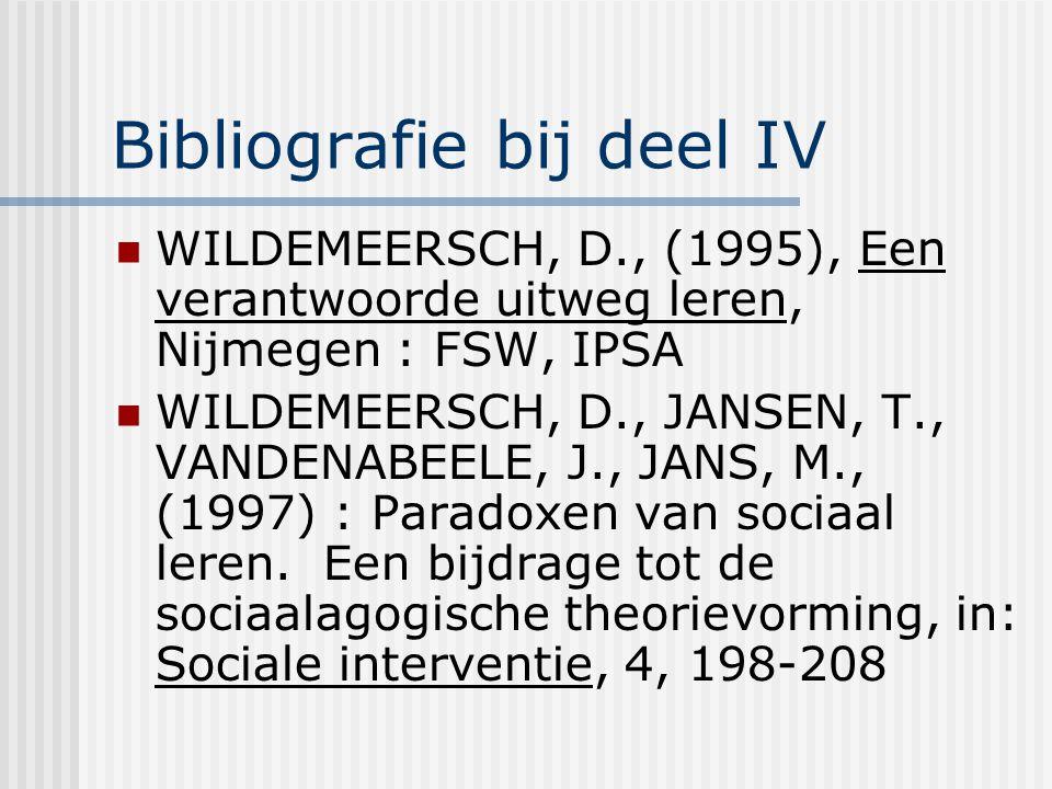 Bibliografie bij deel IV WILDEMEERSCH, D., (1995), Een verantwoorde uitweg leren, Nijmegen : FSW, IPSA WILDEMEERSCH, D., JANSEN, T., VANDENABEELE, J.,